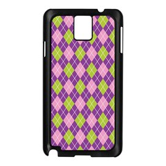 Plaid Triangle Line Wave Chevron Green Purple Grey Beauty Argyle Samsung Galaxy Note 3 N9005 Case (black) by Alisyart