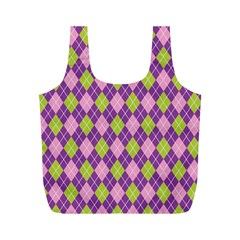 Plaid Triangle Line Wave Chevron Green Purple Grey Beauty Argyle Full Print Recycle Bags (m)  by Alisyart