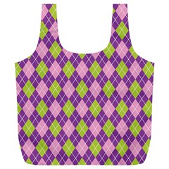 Plaid Triangle Line Wave Chevron Green Purple Grey Beauty Argyle Full Print Recycle Bags (l)  by Alisyart
