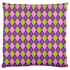 Plaid Triangle Line Wave Chevron Green Purple Grey Beauty Argyle Standard Flano Cushion Case (two Sides) by Alisyart