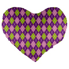 Plaid Triangle Line Wave Chevron Green Purple Grey Beauty Argyle Large 19  Premium Flano Heart Shape Cushions by Alisyart