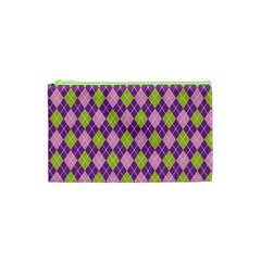 Plaid Triangle Line Wave Chevron Green Purple Grey Beauty Argyle Cosmetic Bag (xs) by Alisyart