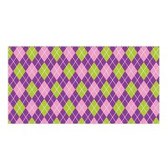 Plaid Triangle Line Wave Chevron Green Purple Grey Beauty Argyle Satin Shawl by Alisyart
