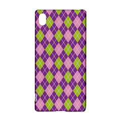 Plaid Triangle Line Wave Chevron Green Purple Grey Beauty Argyle Sony Xperia Z3+ by Alisyart