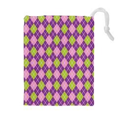 Plaid Triangle Line Wave Chevron Green Purple Grey Beauty Argyle Drawstring Pouches (extra Large) by Alisyart