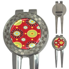 Sunflower Floral Red Yellow Black Circle 3 In 1 Golf Divots by Alisyart