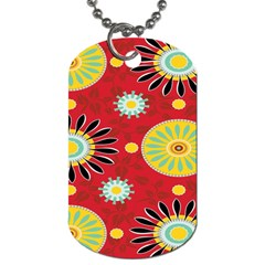 Sunflower Floral Red Yellow Black Circle Dog Tag (two Sides) by Alisyart