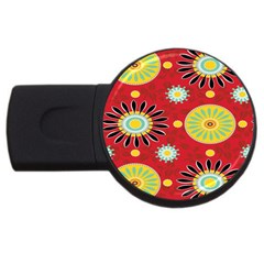 Sunflower Floral Red Yellow Black Circle Usb Flash Drive Round (2 Gb) by Alisyart