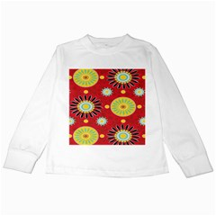 Sunflower Floral Red Yellow Black Circle Kids Long Sleeve T Shirts