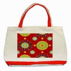 Sunflower Floral Red Yellow Black Circle Classic Tote Bag (red) by Alisyart