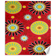 Sunflower Floral Red Yellow Black Circle Canvas 20  X 24   by Alisyart