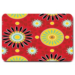 Sunflower Floral Red Yellow Black Circle Large Doormat  by Alisyart