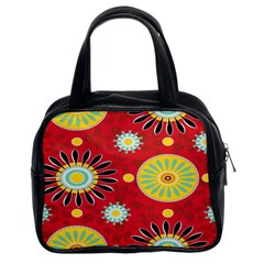 Sunflower Floral Red Yellow Black Circle Classic Handbags (2 Sides) by Alisyart