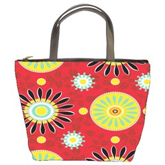 Sunflower Floral Red Yellow Black Circle Bucket Bags by Alisyart