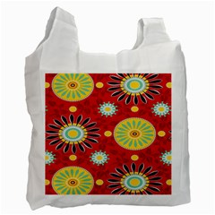 Sunflower Floral Red Yellow Black Circle Recycle Bag (one Side) by Alisyart