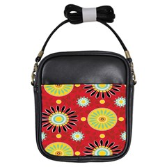 Sunflower Floral Red Yellow Black Circle Girls Sling Bags by Alisyart