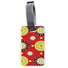 Sunflower Floral Red Yellow Black Circle Luggage Tags (two Sides) by Alisyart