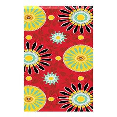 Sunflower Floral Red Yellow Black Circle Shower Curtain 48  X 72  (small)  by Alisyart