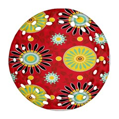 Sunflower Floral Red Yellow Black Circle Round Filigree Ornament (two Sides) by Alisyart