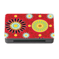 Sunflower Floral Red Yellow Black Circle Memory Card Reader With Cf by Alisyart