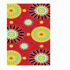 Sunflower Floral Red Yellow Black Circle Large Garden Flag (two Sides) by Alisyart