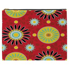 Sunflower Floral Red Yellow Black Circle Cosmetic Bag (xxxl)  by Alisyart