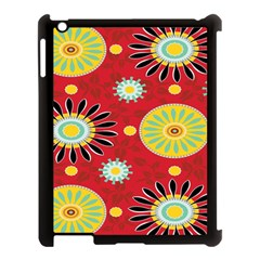 Sunflower Floral Red Yellow Black Circle Apple Ipad 3/4 Case (black) by Alisyart