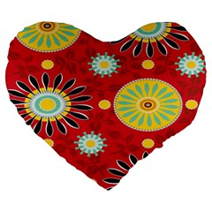 Sunflower Floral Red Yellow Black Circle Large 19  Premium Heart Shape Cushions by Alisyart