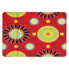 Sunflower Floral Red Yellow Black Circle Samsung Galaxy Tab 8 9  P7300 Flip Case by Alisyart