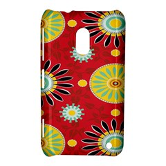 Sunflower Floral Red Yellow Black Circle Nokia Lumia 620 by Alisyart