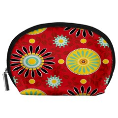 Sunflower Floral Red Yellow Black Circle Accessory Pouches (large)  by Alisyart
