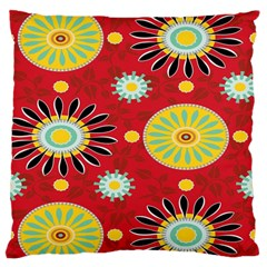 Sunflower Floral Red Yellow Black Circle Large Flano Cushion Case (two Sides) by Alisyart