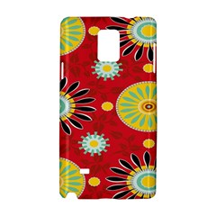 Sunflower Floral Red Yellow Black Circle Samsung Galaxy Note 4 Hardshell Case by Alisyart
