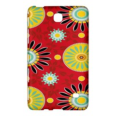 Sunflower Floral Red Yellow Black Circle Samsung Galaxy Tab 4 (8 ) Hardshell Case  by Alisyart