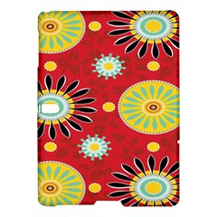 Sunflower Floral Red Yellow Black Circle Samsung Galaxy Tab S (10 5 ) Hardshell Case  by Alisyart