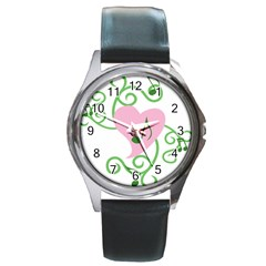 Sweetie Belle s Love Heart Music Note Leaf Green Pink Round Metal Watch by Alisyart