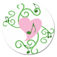 Sweetie Belle s Love Heart Music Note Leaf Green Pink Magnet 5  (round) by Alisyart