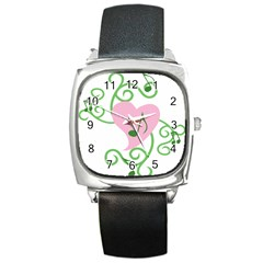 Sweetie Belle s Love Heart Music Note Leaf Green Pink Square Metal Watch by Alisyart