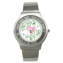 Sweetie Belle s Love Heart Music Note Leaf Green Pink Stainless Steel Watch by Alisyart