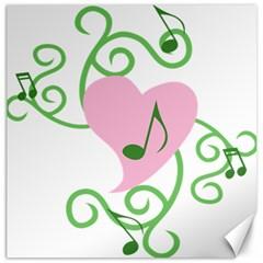 Sweetie Belle s Love Heart Music Note Leaf Green Pink Canvas 20  X 20   by Alisyart