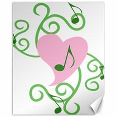 Sweetie Belle s Love Heart Music Note Leaf Green Pink Canvas 11  X 14   by Alisyart