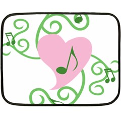 Sweetie Belle s Love Heart Music Note Leaf Green Pink Fleece Blanket (mini) by Alisyart