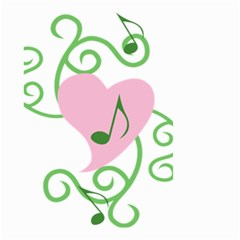 Sweetie Belle s Love Heart Music Note Leaf Green Pink Small Garden Flag (two Sides) by Alisyart