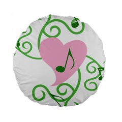 Sweetie Belle s Love Heart Music Note Leaf Green Pink Standard 15  Premium Round Cushions by Alisyart