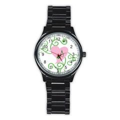 Sweetie Belle s Love Heart Music Note Leaf Green Pink Stainless Steel Round Watch by Alisyart