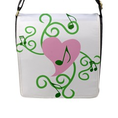 Sweetie Belle s Love Heart Music Note Leaf Green Pink Flap Messenger Bag (l)  by Alisyart
