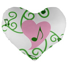 Sweetie Belle s Love Heart Music Note Leaf Green Pink Large 19  Premium Flano Heart Shape Cushions by Alisyart