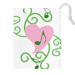Sweetie Belle s Love Heart Music Note Leaf Green Pink Drawstring Pouches (xxl) by Alisyart
