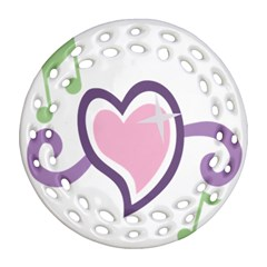 Sweetie Belle s Love Heart Star Music Note Green Pink Purple Round Filigree Ornament (two Sides) by Alisyart