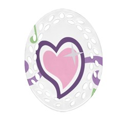 Sweetie Belle s Love Heart Star Music Note Green Pink Purple Ornament (oval Filigree) by Alisyart